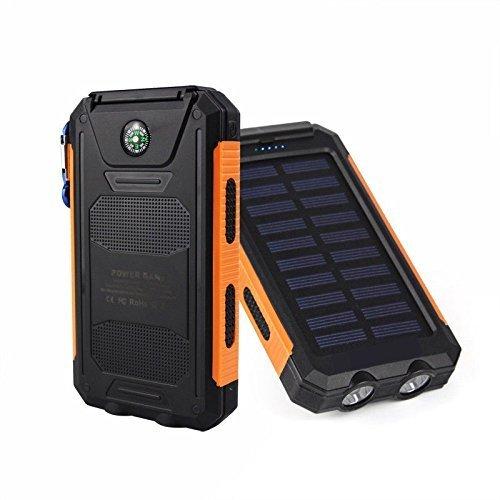 White+Orange Waterproof 500000mAh Dual USB Portable Solar Charger Solar Power Bank For Phone